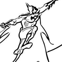 Coloriage : Batman en plein saut