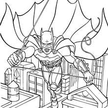 Coloriage : Batman en plein vol