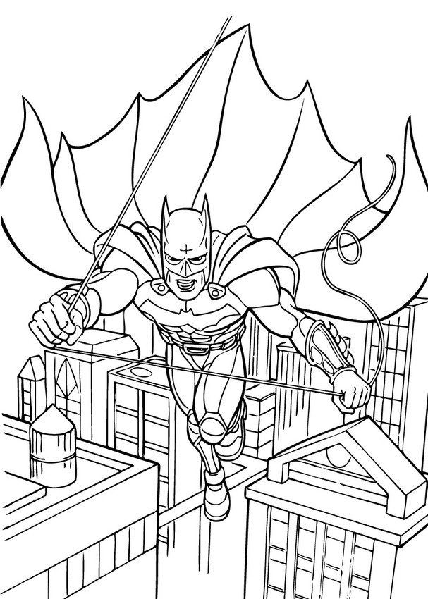 Coloriages batman en plein vol - Coloriage batman ...