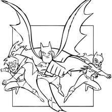Coloriage : Batman, Robin et Batgirl