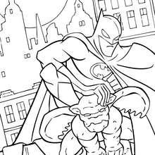 Coloriage : Batman sur la gargouille