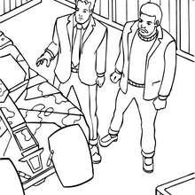 Coloriage : Bruce et son ami dans le garage