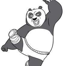 Coloriage Kung Fu Panda : L'attaque spéciale de Po