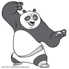 Coloriage Kung Fu Panda : Po en position de Bruce Lee