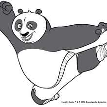 Coloriage Kung Fu Panda : Po en plein saut