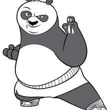 Coloriage Kung Fu Panda : Po en position de combat