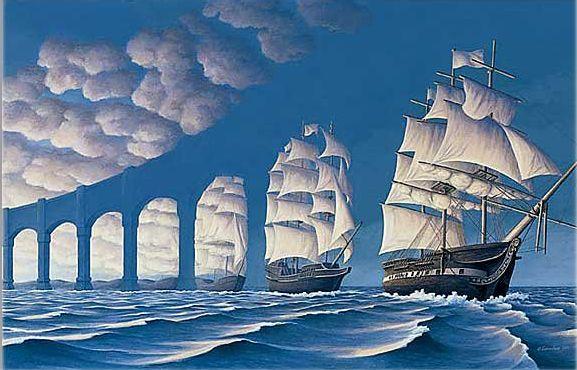 photo bateau pont image illusion optique humour insolite
