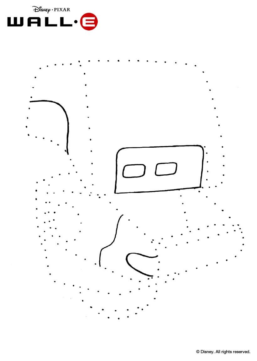 Coloriage des points à relier Robot - Coloriage - Coloriage DISNEY - Coloriage WALL E