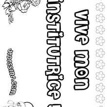 Vive mon institutrice ! - Coloriage - Coloriage PRENOMS - Coloriage PRENOMS LETTRE V