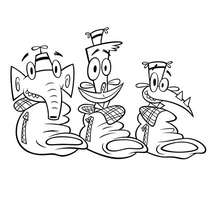 Coloriage de Lazlo, Raj et Clam - Coloriage - Coloriage DESSINS ANIMES - Coloriage CARTOON NETWORK - Coloriage CAMP LAZLO