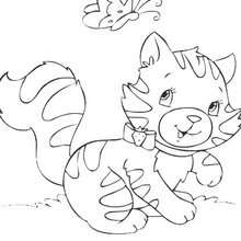 Coloriage en ligne de chat qui joue