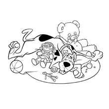 Coloriage de Scooby-Doo et ses jouets - Coloriage - Coloriage de TOONS - Coloriage SCOOBY D'OR