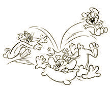 Coloriage de la course-poursuite - Coloriage - Coloriage de TOONS - Coloriage TOM ET JERRY