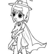 Coloriage de Ana déguisée en sorcière - Coloriage - Coloriage FETES - Coloriage HALLOWEEN - Coloriage SORCIERE HALLOWEEN
