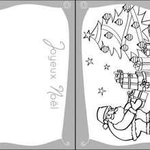 Carte à colorier : Coloriage Carte de Voeux Sapin de Noel