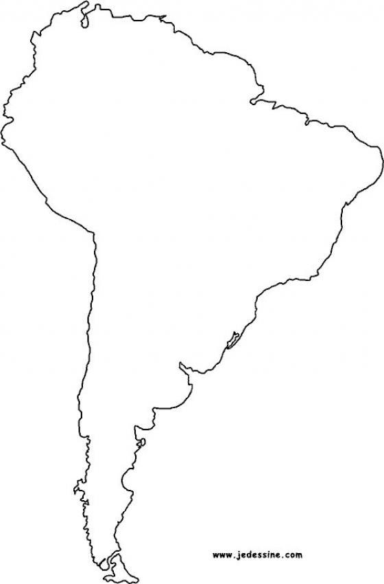 Coloriage : Fond de carte de l'Amérique du Sud