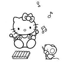 Coloriage de Hello Kitty musicienne