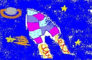 Fusée dans l'espace - Dessin - Autres dessins des enfants