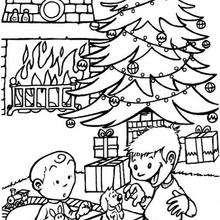 Coloriage de la découverte des cadeaux !