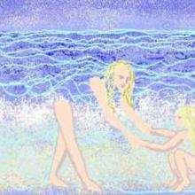 Dessin d'enfant : A la plage