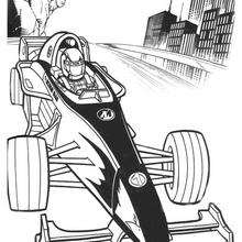 Coloriage : Action Man en formule 1