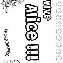 Alice - Coloriage - Coloriage PRENOMS - Coloriage PRENOMS LETTRE A