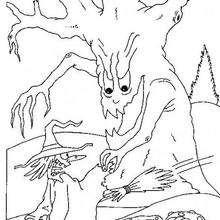 Sorcière effrayée par un arbre magique