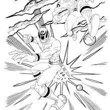Coloriage du combat - Coloriage - Coloriage DESSINS ANIMES - Coloriage POWER RANGERS - Coloriage COMBAT POWER RANGERS