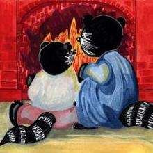 Dessin d'enfant : Au coin du feu