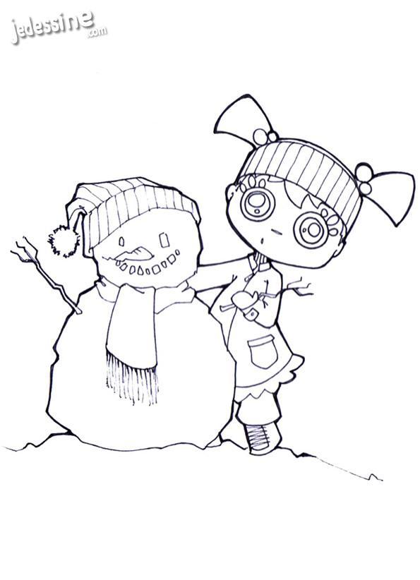 Coloriages coloriage d 39 audrey et le bonhomme de neige fr - Coloriage de bonhomme ...