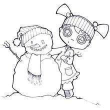 Coloriage d'Audrey et le bonhomme de neige - Coloriage - Coloriage SPORT - Coloriage SPORTS D'HIVER - Coloriage BONHOMME DE NEIGE
