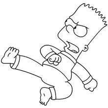 Coloriage de Bart au combat