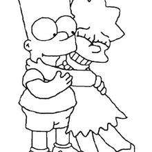 Coloriage de Bart et Lisa - Coloriage - Coloriage DESSINS ANIMES - Coloriage SIMPSON - Coloriage BART SIMPSON