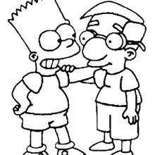 Coloriage de Bart et son ami