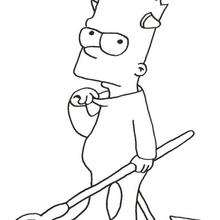 Coloriage de Bart le petit diable - Coloriage - Coloriage DESSINS ANIMES - Coloriage SIMPSON - Coloriage BART SIMPSON