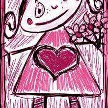 Dessin d'enfant : Petite Fille avec bouquet de Fleurs
