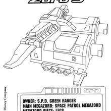 Coloriage Power Rangers : Space Patrol Zord 3