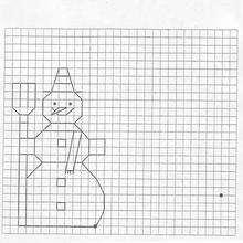 Bonhomme de neige en quadrillage
