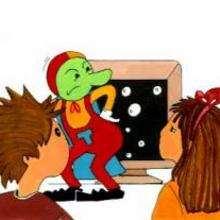 Dessin d'enfant : Bonhomme vert