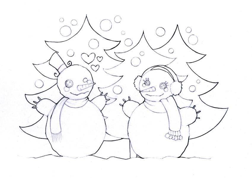 Coloriage de bonhommes de neige amoureux