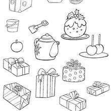 Coloriage des cadeaux et accessoires de vacances