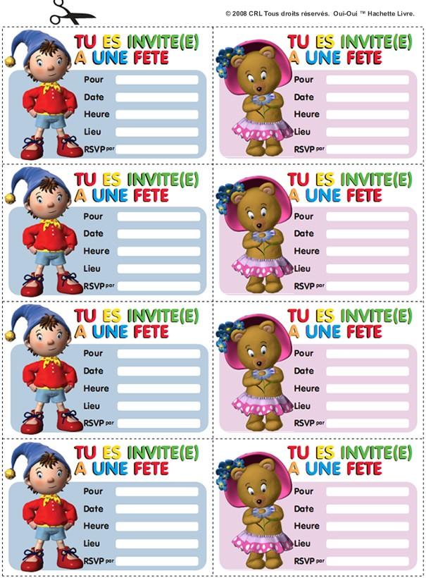 Cartes d'invitation Oui-Oui - Activités - Bricolage - Activités Oui-Oui