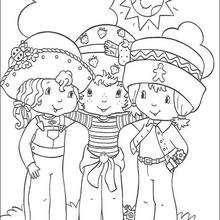 Coloriage de Charlotte avec ses amis - Coloriage - Coloriage PERSONNAGE BD - Coloriage CHARLOTTE AUX FRAISES - Coloriage CHARLOTTE AUX FRAISES A IMPRIMER