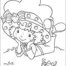 Coloriage de Charlotte et une coccinelle - Coloriage - Coloriage PERSONNAGE BD - Coloriage CHARLOTTE AUX FRAISES - Coloriage CHARLOTTE AUX FRAISES A IMPRIMER