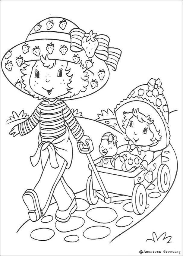 Coloriage de Charlotte aux fraises : Charlotte et la petite fille