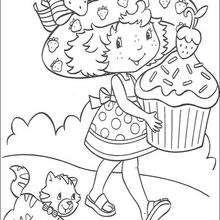 Coloriage de Charlotte et le gâteau - Coloriage - Coloriage PERSONNAGE BD - Coloriage CHARLOTTE AUX FRAISES - Coloriage CHARLOTTE AUX FRAISES GRATUIT