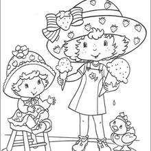 Coloriage de Charlotte qui mange une glace - Coloriage - Coloriage PERSONNAGE BD - Coloriage CHARLOTTE AUX FRAISES - Coloriages CHARLOTTE AUX FRAISES