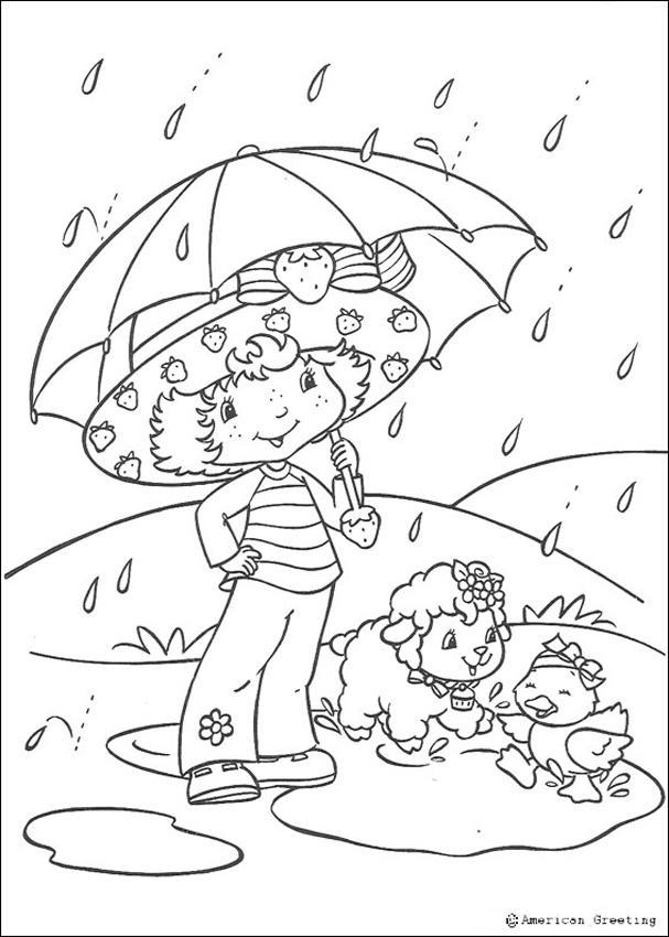 Coloriage de Charlotte aux fraises : A l'abri sous son parapluie
