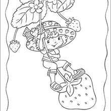 Coloriage de Charlotte aux fraises : Charlotte sur une fraise