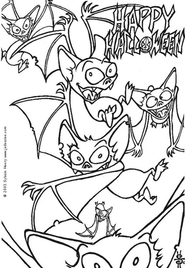 Coloriage d'Halloween : Coloriage de chauve-souris d'halloween